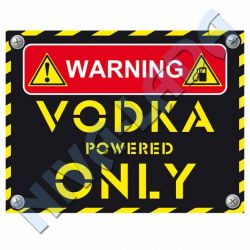 "Наклейка ""Warning, Vodka powered Only"""